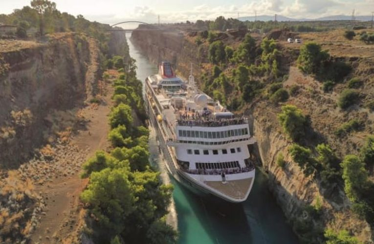 The largest ship that has ever passed (and will do so again) through the Corinth Canal